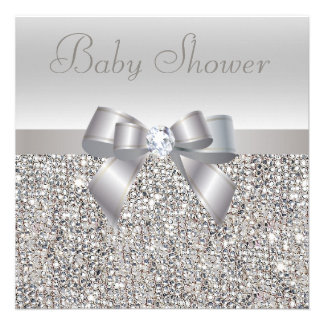 Silver Sequins Bow Diamond Baby Shower Custom Announcements