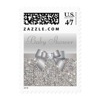 Silver Sequins, Bow & Diamond Baby Shower Postage Stamp