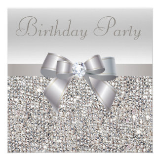 Silver Sequins Bow Diamond Birthday Party Personalized Announcements