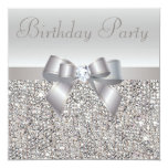 Silver Sequins, Bow & Diamond Birthday Party Personalized Announcements