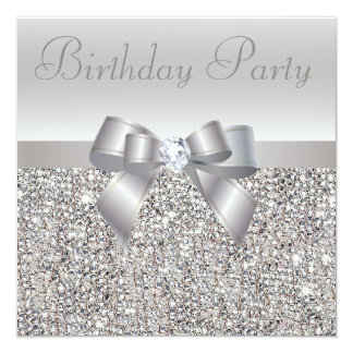 Silver Sequins, Bow & Diamond Birthday Party 5.25x5.25 Square Paper Invitation Card