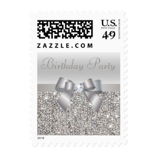 Silver Sequins, Bow & Diamond Birthday Party Postage Stamp