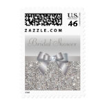 Silver Sequins, Bow & Diamond Bridal Shower Postage Stamps