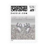 Silver Sequins, Bow & Diamond Bridal Shower Postage Stamp