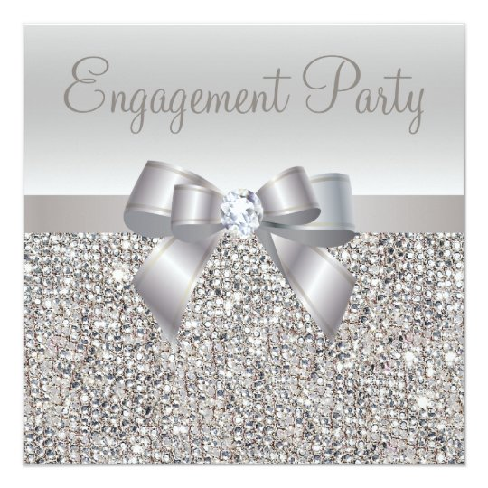 Silver Sequins, Bow & Diamond Engagement Party Card