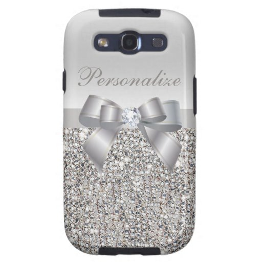 Silver Sequins, Bow & Diamond Personalized Samsung Galaxy SIII Cases