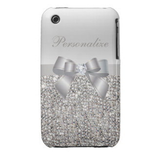 Silver Sequins, Bow & Diamond Personalized Case-Mate iPhone 3 Case