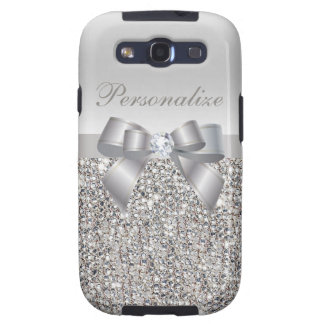 Silver Sequins, Bow & Diamond Personalized Galaxy S3 Cover