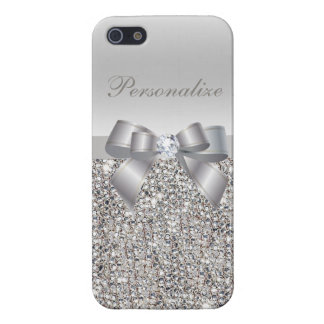 Silver Sequins, Bow & Diamond Personalized Cover For iPhone 5