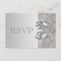 Silver Sequins, Bow & Diamond RSVP Wedding