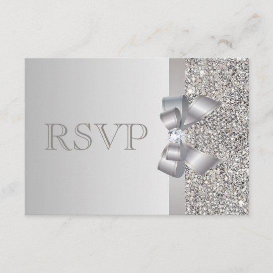 Silver Sequins, Bow & Diamond RSVP Wedding