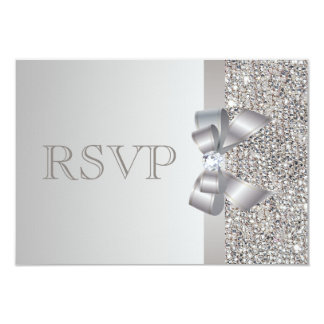 Silver Sequins, Bow & Diamond RSVP Wedding Card