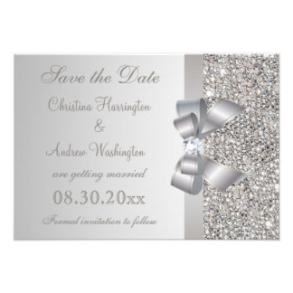 Silver Sequins Bow Diamond Save the Date Personalized Invitation
