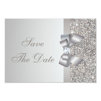 Silver Sequins, Bow & Diamond Save the Date 3.5x5 Paper Invitation Card