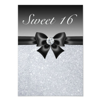 "Silver Sequins, Bow & Diamond Sweet 16 Invites 5"" X 7"" Invitation Card"