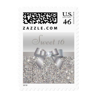 Silver Sequins Bow Diamond Sweet 16 Postage Stamps