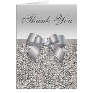 Silver Sequins, Bow & Diamond Thank You Card