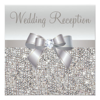 Silver Sequins, Bow & Diamond Wedding Reception Card