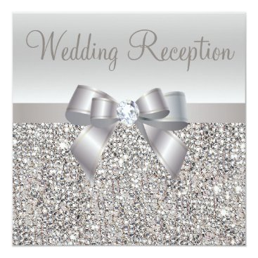 AJ_Graphics Silver Sequins, Bow & Diamond Wedding Reception Card