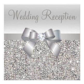 Silver Sequins Bow Diamond Wedding Reception Invites