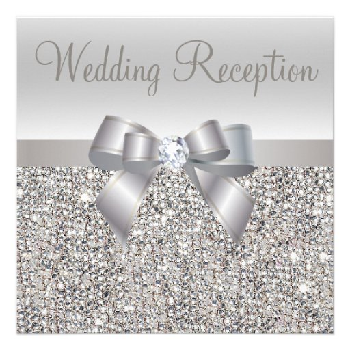 Silver Sequins, Bow & Diamond Wedding Reception Invites