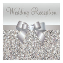 Silver Sequins, Bow & Diamond Wedding Reception Invitation