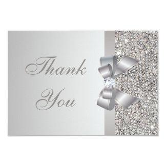 Silver Sequins, Bow & Diamond Wedding Thank You Card
