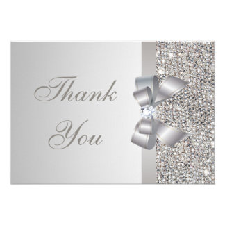 Silver Sequins Bow Diamond Wedding Thank You Custom Invitations