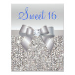 Silver Sequins & Bow Royal Blue Text Sweet 16 4.25x5.5 Paper Invitation Card