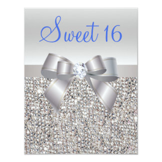 Silver Sequins & Bow Royal Blue Text Sweet 16 Card