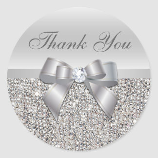 Silver Sequins Bow Thank You Stickers