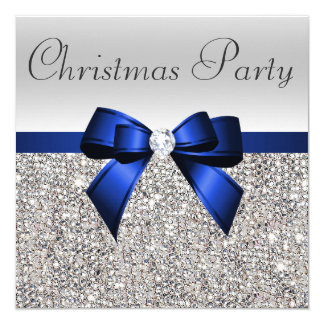 Silver Sequins Christmas Party Blue Diamond Bow Card