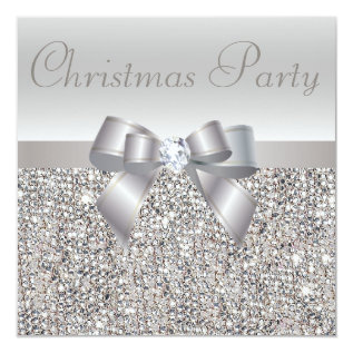 Silver Sequins Christmas Party Bow & Diamond Print Card at Zazzle