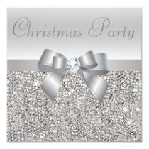 Silver Sequins Christmas Party Bow & Diamond Print Invitation