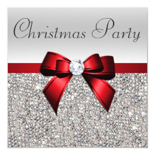 Silver Sequins Christmas Party Red Diamond Bow Card at Zazzle