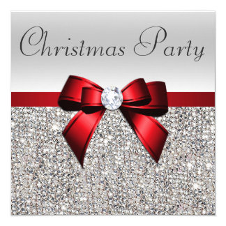 Silver Sequins Christmas Party Red Diamond Bow Card