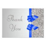 Silver Sequins Diamond Blue Bow Wedding Thank You Card
