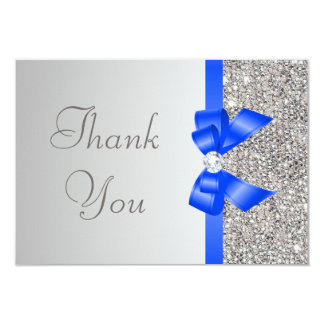 Silver Sequins Diamond Blue Bow Wedding Thank You 3.5x5 Paper Invitation Card