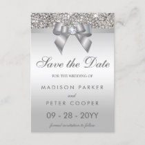 Silver Sequins Diamond Bow Save The Date Wedding