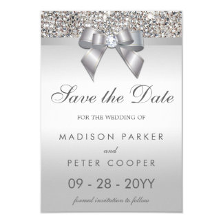 Silver Sequins Diamond Bow Save The Date Wedding Card