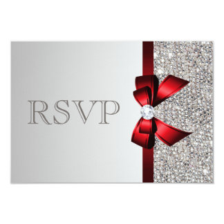 Silver Sequins Diamond Red Bow Wedding RSVP 3.5x5 Paper Invitation Card