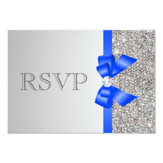 Silver Sequins Diamond Royal Blue Bow Wedding RSVP 3.5x5 Paper Invitation Card