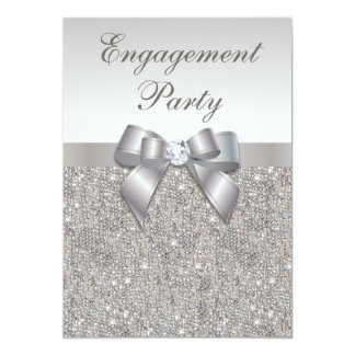 "Silver Sequins Diamonds Bow Engagement Party 5"" X 7"" Invitation Card"