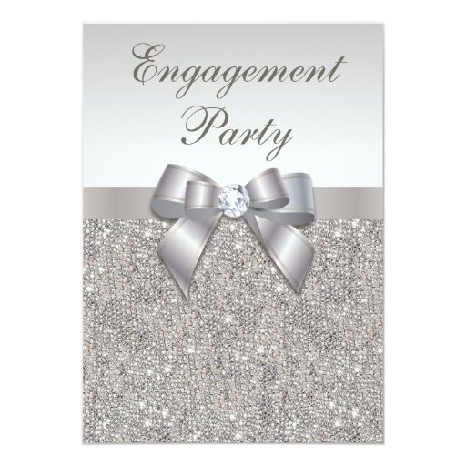 Silver Sequins Diamonds Bow Engagement Party Custom Invitations