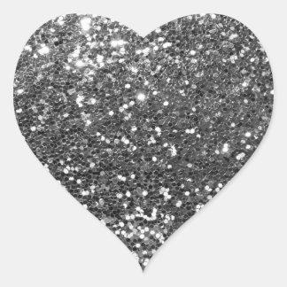 Silver Sequins Glitz Heart Shape Envelope Seals Heart Sticker