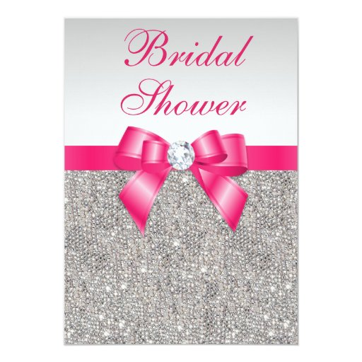 Silver Sequins Hot Pink Bow Bridal Shower Card