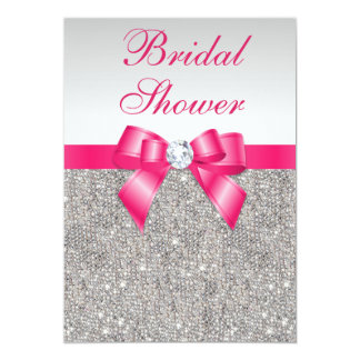 "Silver Sequins Hot Pink Bow Bridal Shower 5"" X 7"" Invitation Card"