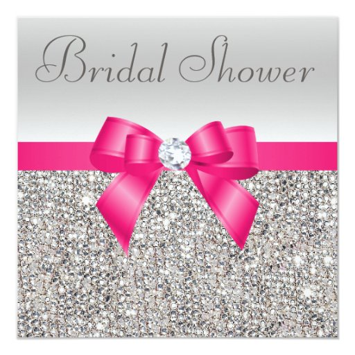 Silver Sequins Hot Pink Bow Diamond Bridal Shower Card