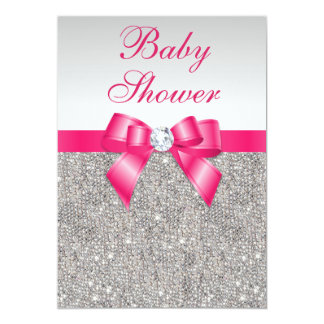 Silver Sequins Hot Pink Bow Girls Baby Shower 5x7 Paper Invitation Card