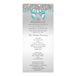 Silver Sequins Light Teal Bow Wedding Program